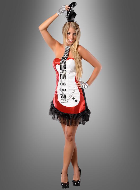 Glam Rock Gitarren Kostum Rot Karnevalskostum Damen 80er Jahre