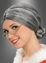 Perücke Oma Großmutter mit Dutt grau