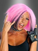 80er Jahre Perücke pink-schwarz