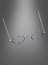 Oma Großmutter Nickelbrille ohne Gläser silber
