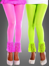 80er Leggings mit Fransen in Neonfarben