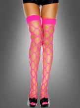 Halterlose Netzstrümpfe Neon Pink