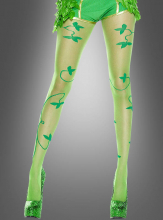 Multiple Leaf Print Pantyhose Ivy