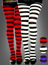 Opaque wide stripes tights XXL
