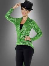 Grüner Frack mit Pailletten Damenkostüm