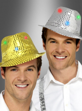 Sequin hat silver or gold light up