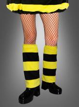 Biene Beinstulpen Plüsch schwarz-gelb
