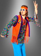 Multicolor Hippie Shirt with Fringe Vest