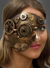Steampunk Gesichtsmaske bronze mit Killernieten