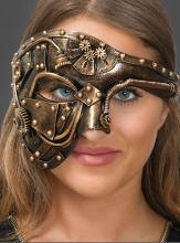 Steampunk Augenmaske mit genieteten Platten in Bronze