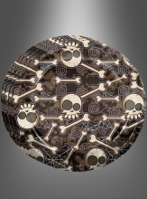 8 Teller aus Pappe Halloween mit Knochen