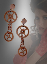 Long Steampunk Gear Earrings