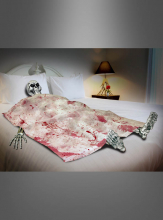 Skelett im Bett Halloweendeko