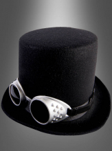 Black Steampunk Top Hat with Goggles