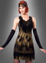 Schwarz-goldenes 20er Jahre Flapper Kleid