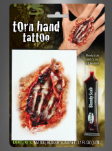 Torn Hand Tattoo Makeup and Blood