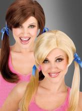 Zopfperücke blond & braun