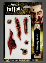 Bloody Wounds Face Tattoo
