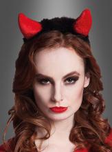 Teufelshörner mit Haarreif für Teufelin