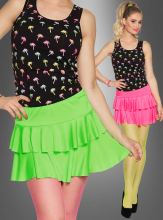 Neon Mini Skirt with Ruffles