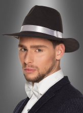 Gangster Hat Fedora with white Hatband