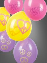 Hippie Deko Luftballons 1 x 6 Stück