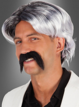 70s Wig and Mustache grey and white