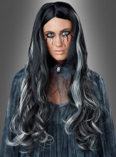 Bloody Mary Long Hair Wig black grey