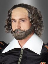 Shakespeare Perücke und Bartset braun-grau