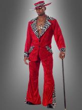 70er Pimp Kostüm Zuhälter Rapper rot