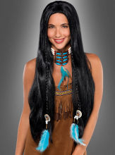 Native American Wig with blue Feathers