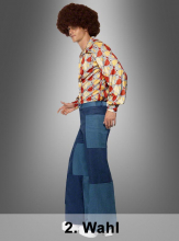 Blue Jeans Patchwork Flares 70s