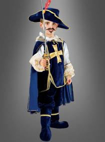 Deluxe blaues Musketier für Kinder mit Zubehör