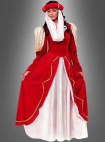 Rotes Mittelalter Kleid Hofdame