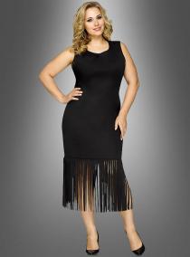Schwarzes Kleid mit Fransen XXL