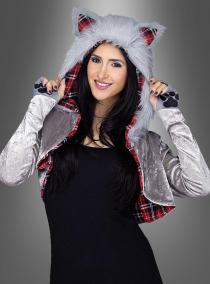 Kurzjacke Wolfskostüm mit Kapuze