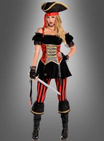 Piratin Miss Bonny Damenkostüm rot-schwarz