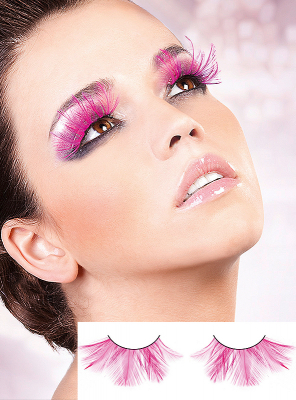 Pink Fantasy Fake Feather Eye Lashes