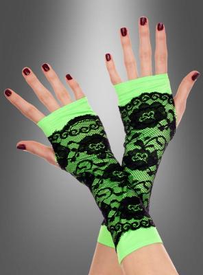 Handschuhe grün mit Spitze