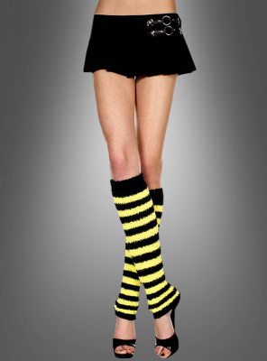 Plüsch Beinstulpen gelb schwarz