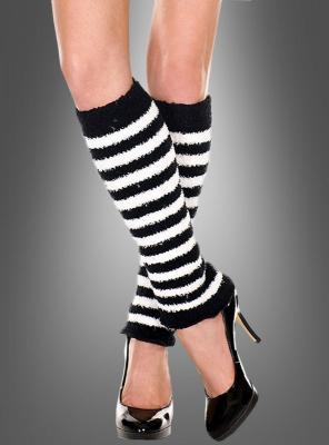 Plüsch Beinstulpen schwarz-weiß