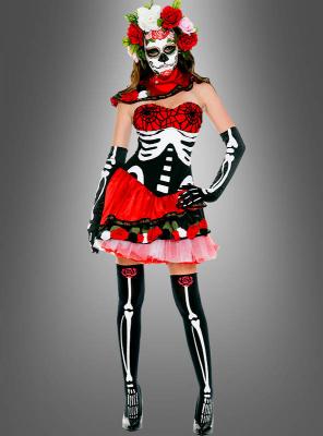 Tag der Toten Skelett Kleid mit Zubehör