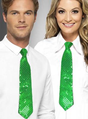 Grüne Krawatte mit Pailletten