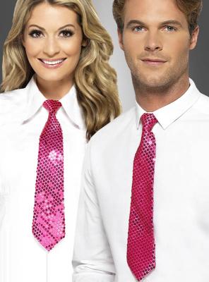 Pink Sequin Tie Unisex