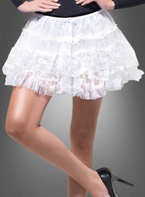 Petticoat kurz weiß mit Spitze