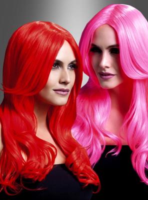 Khloe Langhaarperücke Pink oder Rot