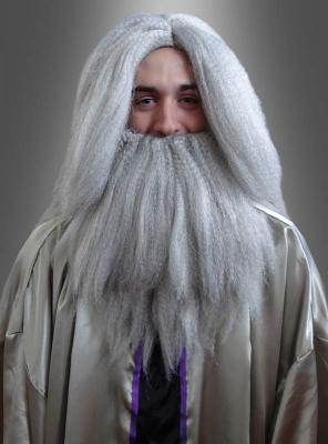 Grauer Bart und Perücke für Zauberer