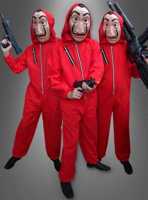 Roter Bankräuber Kostüm mit Dali Maske