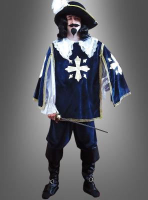 DELUXE Musketier Kostüm dunkelblau