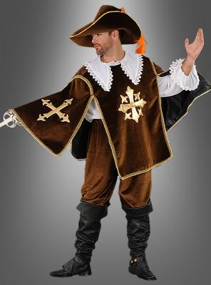 Deluxe musceteer costume brown
